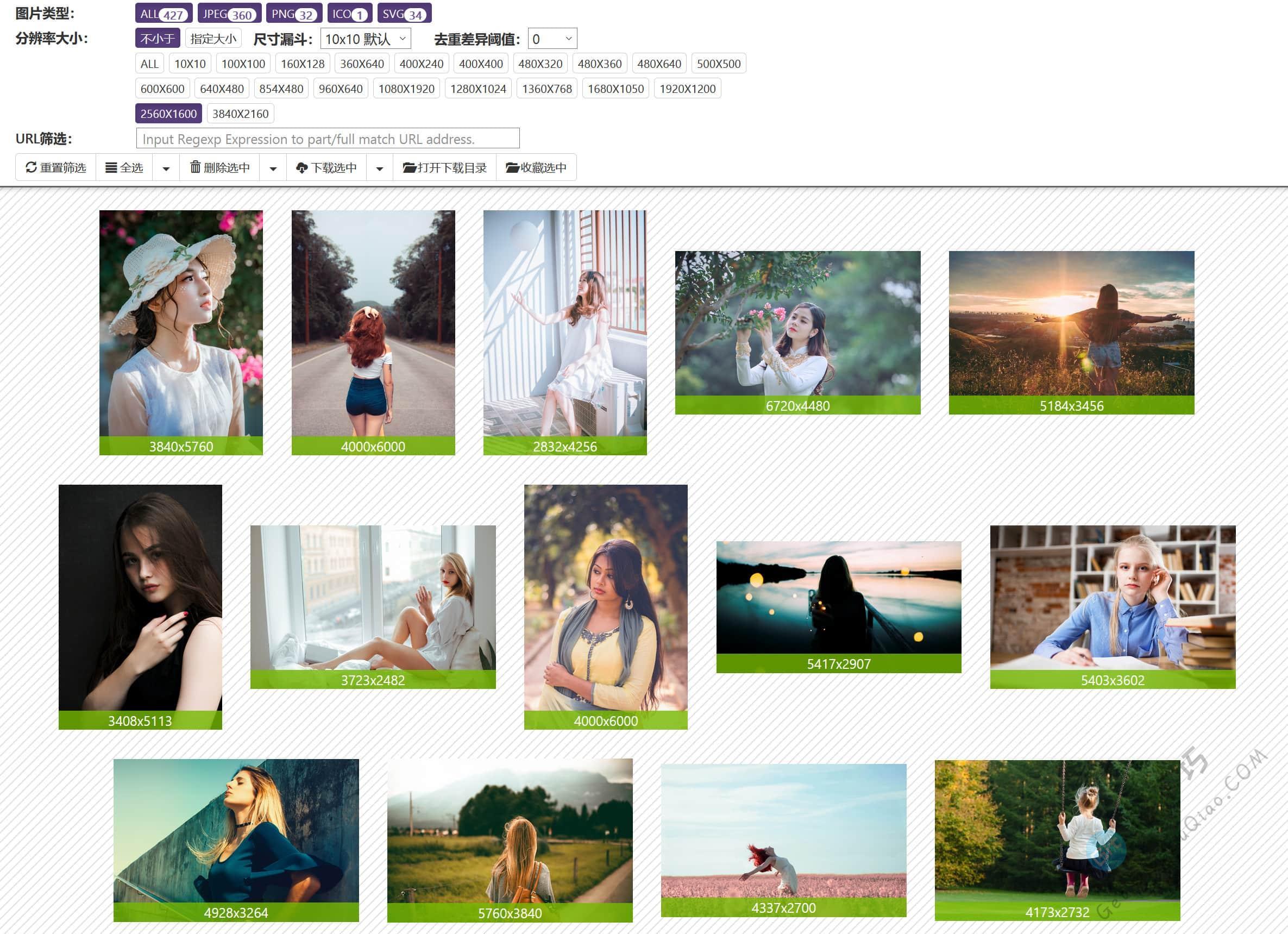 网站图片批量下载工具,支持尺寸、分辨率、正则URL过滤和递增链接提取